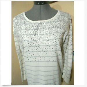 ELLE Sequined Sweater Top L White Gray stripe LS